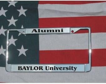 BAYLOR UNIVERSITY Alumni Chrome Laser Engraved License Plate Frame FREE Shipping
