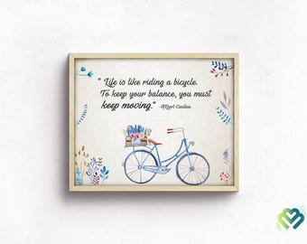 Motivational Quotes Wall Art Printable Home Decor Bicycle Art Inspirational Wall Decor Gift Typographic Print Instant Download Digital Art