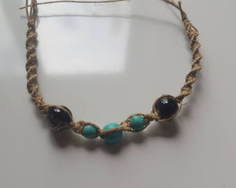 5 Bead Blue/Black Hemp Bracelet
