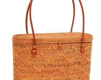 Ata Woven Basket with Lid Handbag