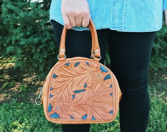 Vintage 70s TOOLED Leather and DENIM Handbag