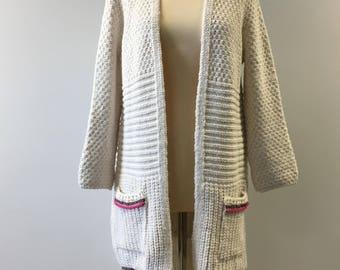 Original Bohemian Ethnic Fringed Knit Cardigan, Cozy Long Knitwear, Pompom Cardigan, Ethnical Light Jacket, Pompom Trim Knit Cardigan