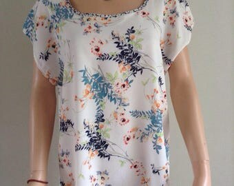 Floral foliage 40/42/44/46/48 printed tunic blouse