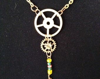 Steampunk Brass Gear and Screw Beaded Necklace