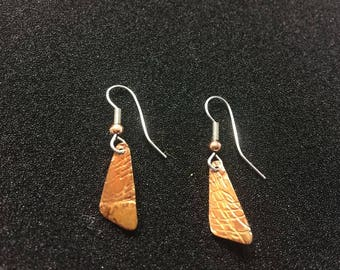 textured copper asymmetric patina'd dangle earrings