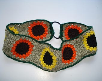 Crochet Headband, Granny Square  Sunflower Crochet Headband, Handmade Cotton Headband, Women's Headband