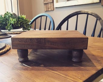Stained Wooden Farmhouse Riser