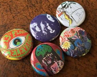 "PRIVATE PRESS LP Set 1"" Button/Badge Set pins 13th Floor Elevators, The Seeds"