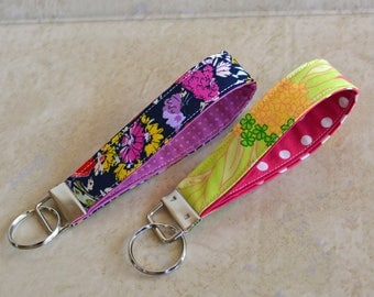 CUSTOM MADE Navy/Purple/Pink/Yellow/Watercolor/Floral, Keychain, Key Fob, Wristlet Keychain, Wristlet Key Fob