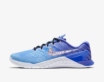 crystal Nike Metcon 3 Fade Bling Shoes with Swarovski Crystals Women's Running Shoes Still Blue