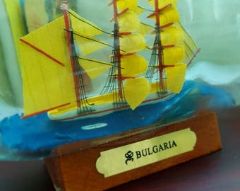 Vintage Mini Ship in Bottle, Atlantic Sailboat in a Glass Bottle, Nautical Decor, Nautical Decorations, Souvenir Miniature