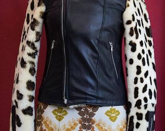 Vintage Leather and fake leopard fur inserts Biker Jacket