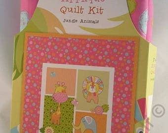 Fusible Applique Quilt Kit - Jungle Animals  100% Cotton Baby Blanket present gift