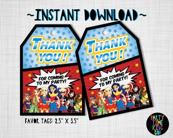 DC Superhero Girls Favor Tags Birthday Party Thank you Tags  Goodie Bag Tag Gift Label - INSTANT DOWNLOAD with matching Invitation Available