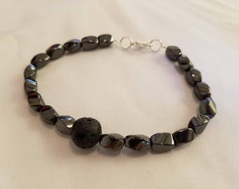 Natural Elements Collection- Lava Core-- Round Black Lava Stone bracelet with Magnetic Hematite