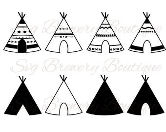 Teepee, tent SVG (layered), PNG, DXF, Pdf for cricut, silhouette studio, vinyl decal, cut file,t shirt design, scrapbookin, stencil template
