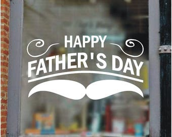 Father's Day decal/sticker, shop window promotion, cards, gifts, flower shop