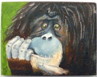 Ape - miniature oil painting
