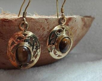Tiger eye earrings brass