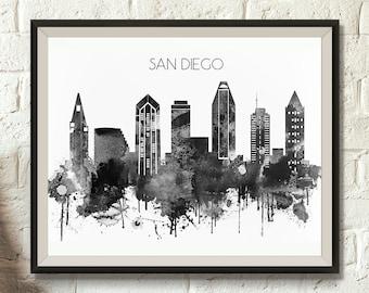 black and white san diego skyline digital poster watercolor california cityscape san