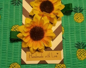 Sun Flower & Poppy Hair Clips