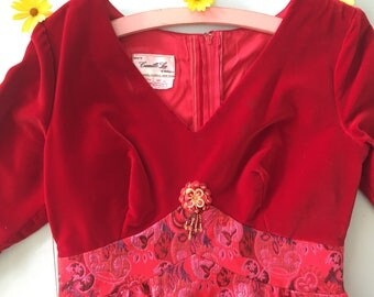 1970s cotton velvet bodice and lurex maxi skirt in red and pink colourway sparke and luxe