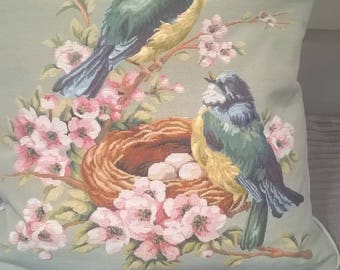 """Beautiful bird cushion cover 16"""" (43cm) square with zip opening"""