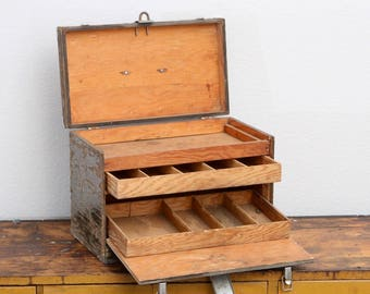 Wood Vintage Toolbox With Drawers, Tackle Box Storage, Storage Solutions, Industrial Storage