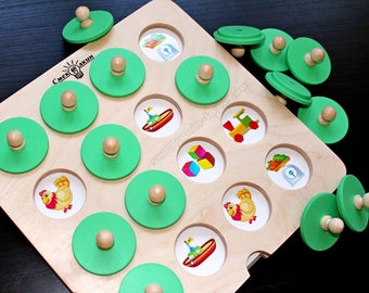Wooden Memory Game, Matching Game, Montessori Toddler, Toddler Games, Make a Match, Montessori material, Wooden matching game