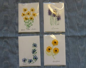 Blank all occasion cards with hand tatted flowers