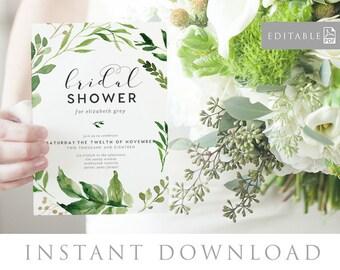 Bridal Shower Invitation INSTANT DOWNLOAD,  Bridal Shower Invite, Before I do, Bachelorette Printable, Hens Night Invitation - Woodland