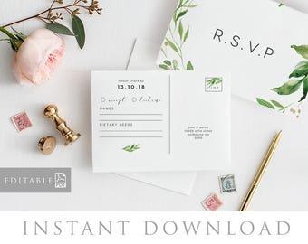 RSVP Postcard Template INSTANT DOWNLOAD, Editable pdf, rsvp Cards, rsvp Postcard, rsvp template, wedding rsvp cards - Woodland