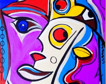 Artwork paintings abstract art deco painting modern art on stretched canvas colorful large Expresive painting modern