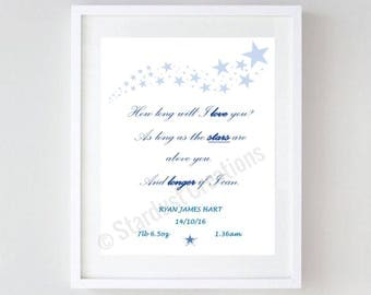 New baby how long will I love you print