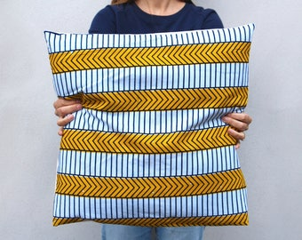 """Zebra"" Cushion cover 50 x 50 - white and yellow wax"