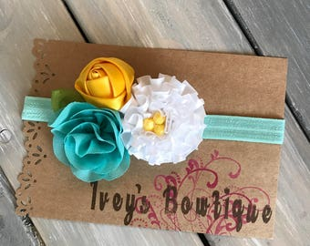 Teal yellow and white flower headband