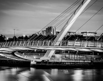 Landscape Photography, Black and White Landscape Photograph of The Millenium Bridge in Gateshead. Fine Art Photography, Wall Art