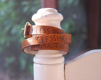Leather triple-wrap bracelet with custom secret message!