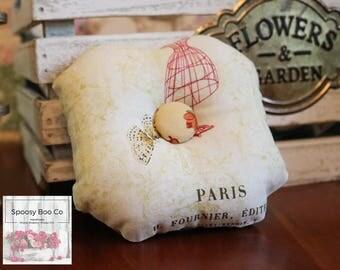 Ready to Ship Shabby Elegance Vintage Chic Fiberfill Pillow Pincushion
