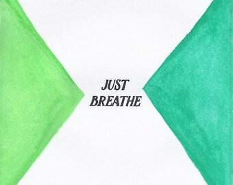 Just Breathe - 3x3 Original Mini Watercolor Painting