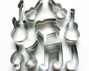9pcs/Set Music Instruments Cookie Cutter, Piano Cutter, Musical Note Cutter, Guitar Cutter, Violin Cutter, Biscuit Mold Pastry Baking Tool