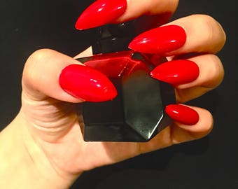 paint with Louboutin polish!|Louboutin nails|classic red press on nails| l| fake nails| red stiletto nails