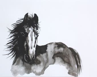 Horse Painting in India ink - Professional Giclee Print of Original Painting with Archival Quality Inks,  9 by 12 inches, 11 by 14 inches