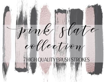 Pink Slate Brush Strokes Collection Clip Art Graphic Design