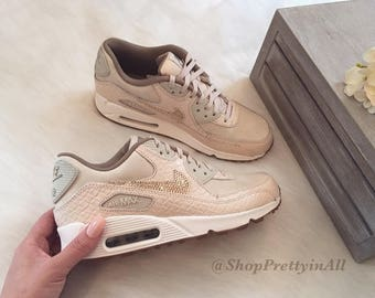 Bling Nike Air Max 90 Oatmeal Shoes with Rose Gold Swarovski Crystals