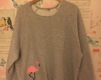 Children and Adult Grey Flamingo Raw Edged Sweatshirt