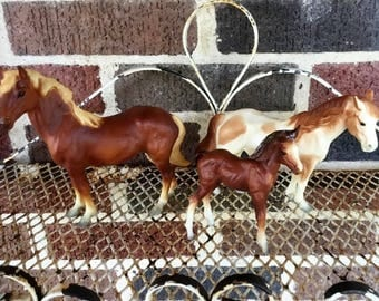 Vintage Breyer Mustang Family; #3065; with Stallion, Mare, Foal; Miniature Animal Models