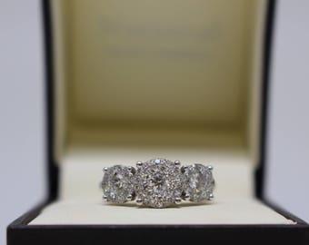 Trinity 3 Stone Halo Engagement Ring