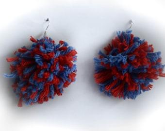 Red and Blue Yarn Pom Pom Earrings