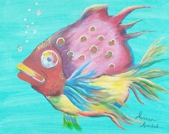 Whimsical Fish Original Painting